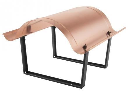 Kaminabdeckung aus Kupfer, T = 750 mm, Stützenabstand 250 mm