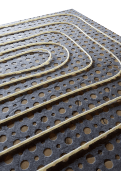 Fussbodenheizung im Klett-System - Rohr auf Kunstfaserdeckschicht