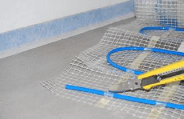 Fußbodenheizung im Dünnbettsystem Verlegung Heizmatte